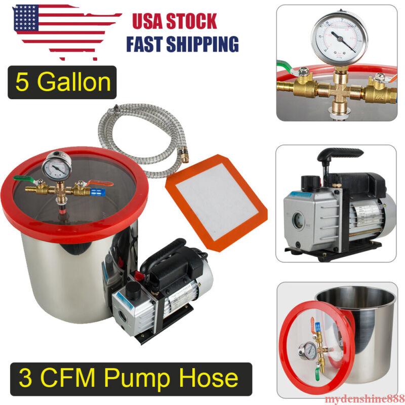 5 Gallon Vacuum Chamber Degassing Silicone Kit +1/4HP 3CFM Single Stage Pump Set