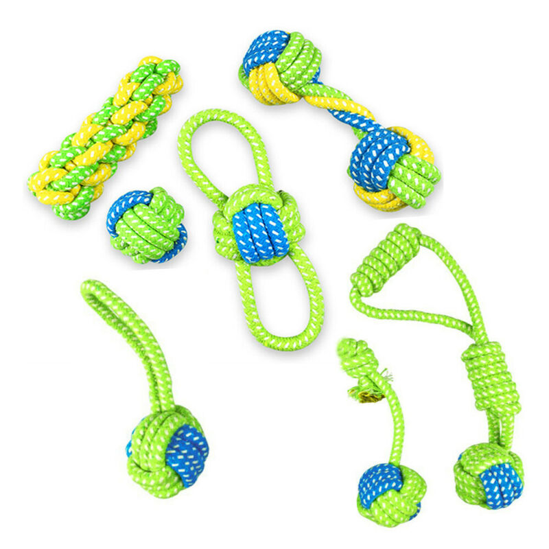 Bite Interactive Pet Teeth Ball Braided Cotton Dog Rope Toy Node Puppy Chew