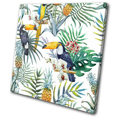 Tropical Fruit Picture (Tropical Flowers Birds Fruit Floral SINGLE CANVAS WALL ART Picture Print )