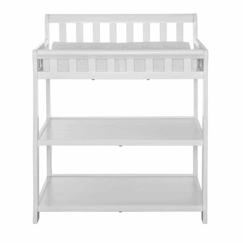 Dream On Me Changing Table Pine Wood Safety Rails Water-Resistant Mattress Pad