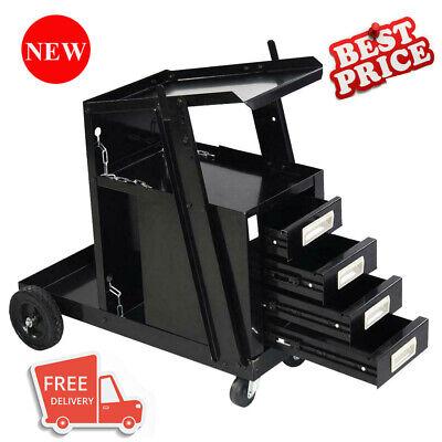 Welding Welder Cart Mig Tig Arc Plasma Cutter Tank Storage W 4 Drawer Cabinet
