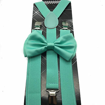 Mint Green Teal Seafoam SUSPENDERS and BOW TIE COMBO SET Unisex Adjustable