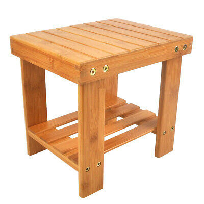 Bathroom Children Bench Stool Stepping Chair Bamboo Footrest Stool Bench Storage