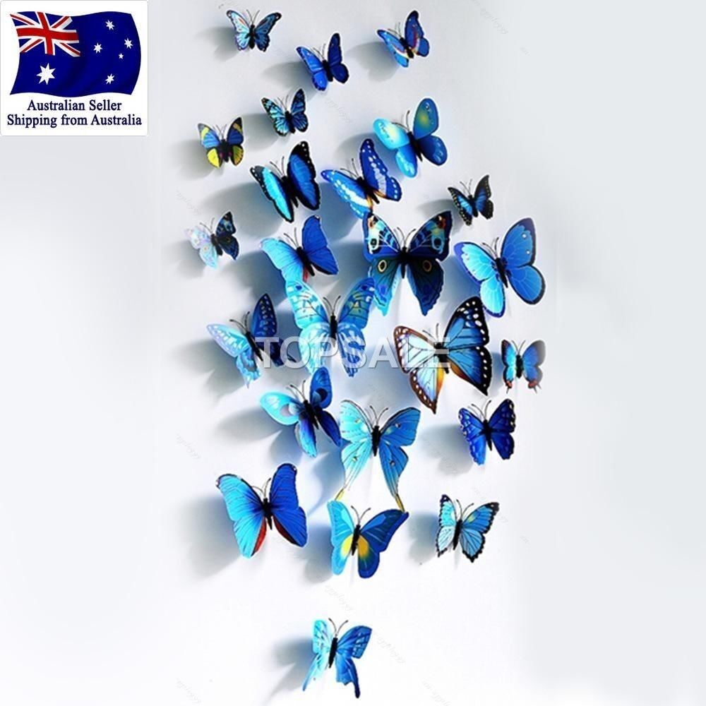 Home Decoration - 3D Butterfly Wall Sticker Home Decor, wedding decor Removable 12Pcs Blue