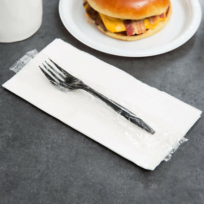 1000-pack Individually Wrapped Black Medium Weight Plastic Forks Commercial