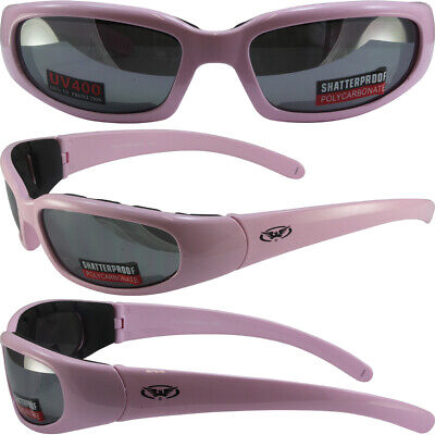 BURNING MAN SPECIAL - WOMEN'S PADDED MOTORCYCLE GLASSES PINK FRAMES SMOKE (Burning Man Glasses)