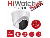 HiWatch CCTV Dome Camera 2MP 40M Night Vision THC-T220 AHD HDTVI HDCVI 1080p UK
