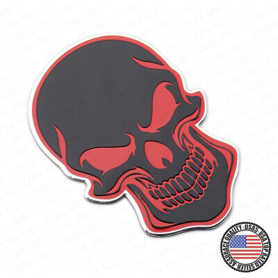 Car Trucks Red&Black Skull Head Emblem Badge 3D Decal Metal Sport Accessories