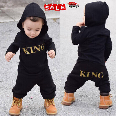"Newborn Baby Kid Boy""KING""Hooded Romper Bodysuit Jumpsuit Clothes Outfits Hoodie"