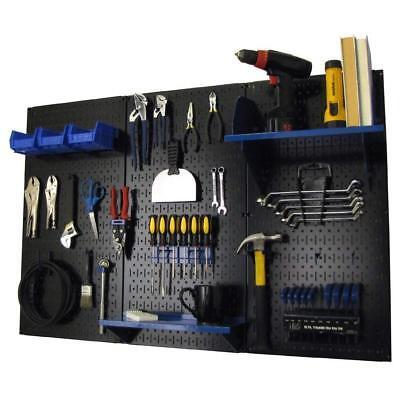 Wall Mount Peg Board Workbench Tool Organizer 14 Inch Hooks Shelves Black Blue