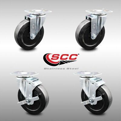 Ss Hard Rubber Swivel Caster Set Of 4 W5 Wheels - 2 Wbrakes