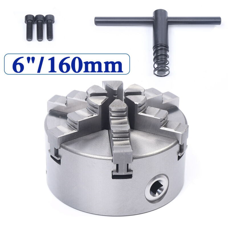 """Adjustable 6"""" 6-claw 160mm self-centering lathe chuck CNC milling drill machine"""