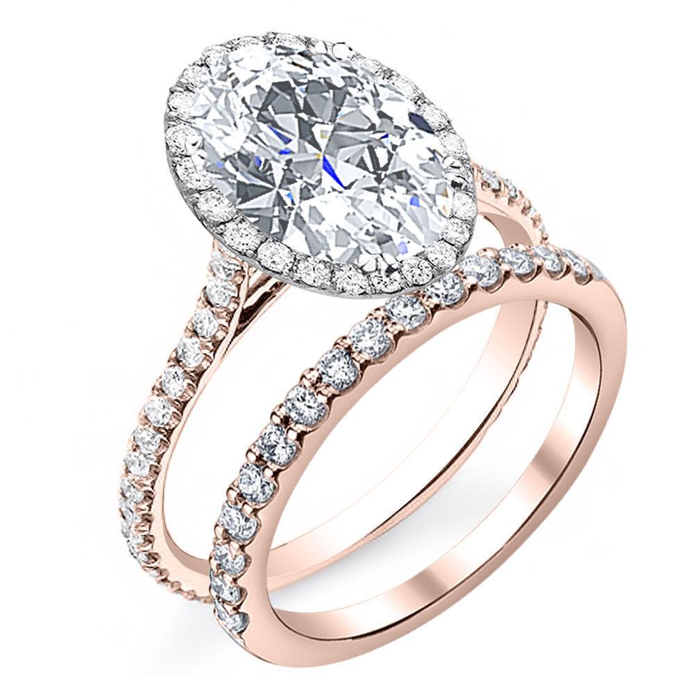 U-Pave 4.00 ct. Oval Cut Halo Diamond Engagement Ring w/ Wedding Band H, VS2 GIA