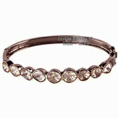 Victorian 1.80Cts Genuine Old Mine Antique cut Diamond Silver Bracelets Jewelry
