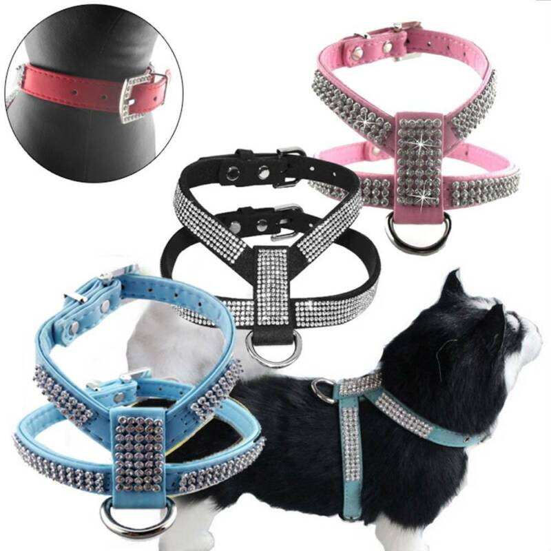 Dog Cat Harness Chest Strap Belt with Rhinestone Easy Fit Ad