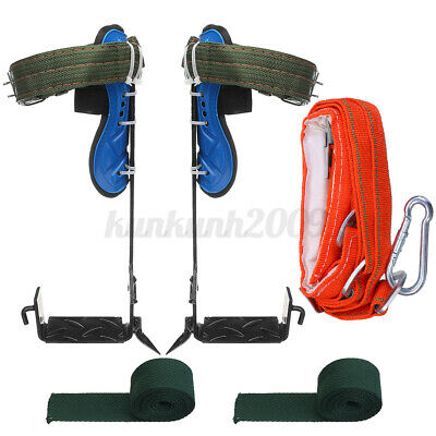 Tree/Pole Climbing Spike Set Safety Belt Strap Rope Adjustable Stainless