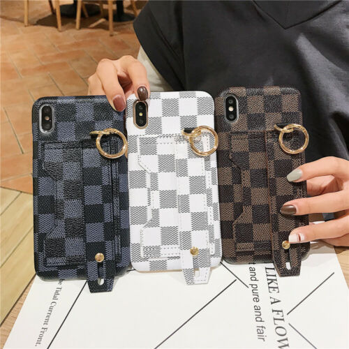 For iPhone 11 Pro Max XS Max XR Leather Wrist Strap Stand Ca