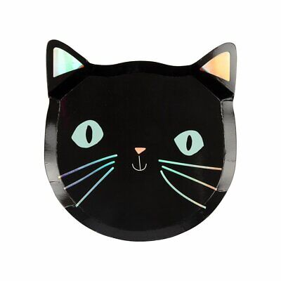 8 X Luxus Schwarze Katze Form Papierteller Finish Folie Halloween-Party Geschirr