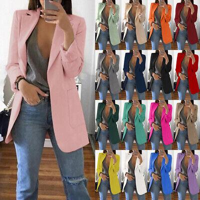 UK Womens Ladies Long Sleeve Blazer Suit Work Formal Jacket Coat Plus Size 6-24