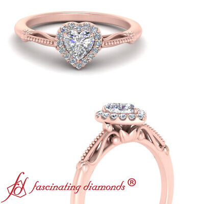 Milgrain Filigree Pattern Halo Engagement Ring With Heart Shape Diamond 0.65 Ctw