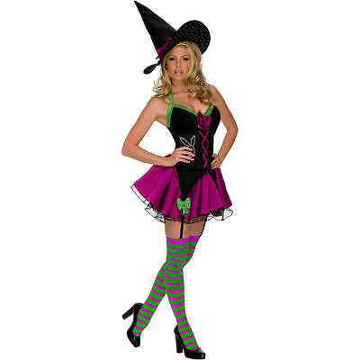SALE Xs UK 8 Playboy Sparkle Witch Dress Stockings Hat Costume Cosplay Halloween - Xs Stock Halloween Costumes