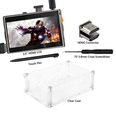"US 3.5"" HDMI LCD Display 1920x1080 Screen w/ Clear Case for Raspberry Pi 2 3"