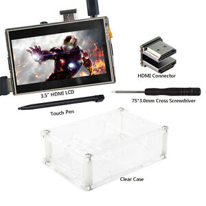 US Touch Screen LCD 3.5 inch HDMI Monitor Clear Case for Raspberry Pi 3 2
