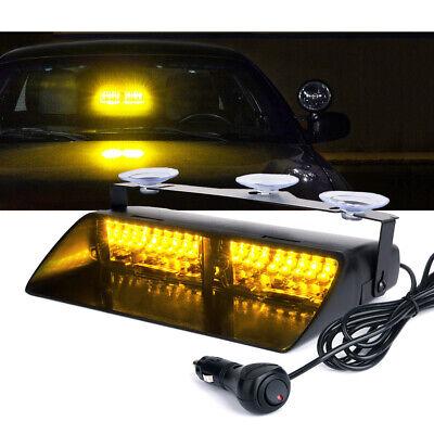 16 Led Windshield Emergency Hazard Strobe Light Bar Interior Dash Yellowamber