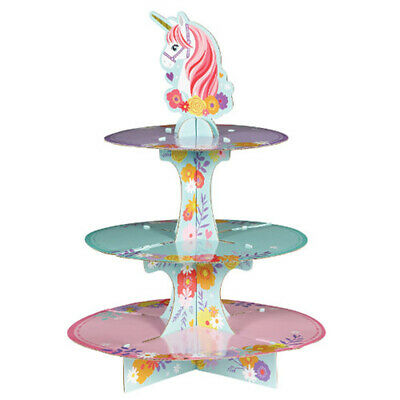 Girl Birthday Party Supplies (MAGICAL UNICORN 3-TIERED CUPCAKE STAND ~ Birthday Party Supplies Decoration)