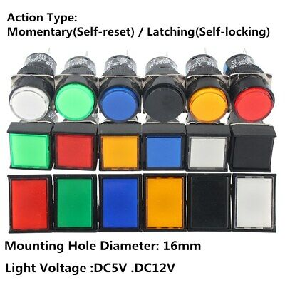 16mm Push Button Switch Momentarylatching Square Cap Led Lamp Dc 12v5v 5 Pin