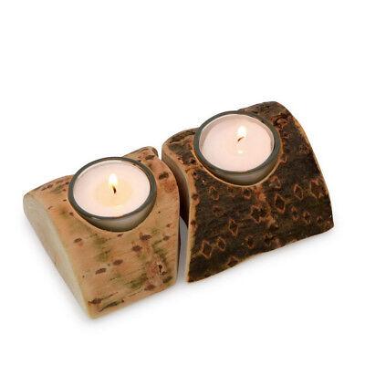 Teelichthalter Caro 2-tlg natur aus Holz samt Rinde