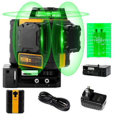 Kaiweets Rechargeable Self Leveling Laser Level 3x360 3d Green For Construction