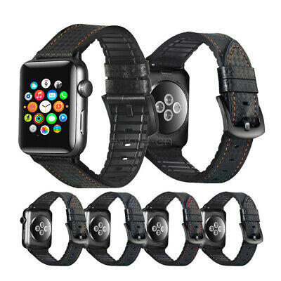 Black Carbon Fiber Watch Band - For Apple Watch Band Carbon Fiber Leather Wrist Strap iWatch 44mm 40mm 38mm 42mm