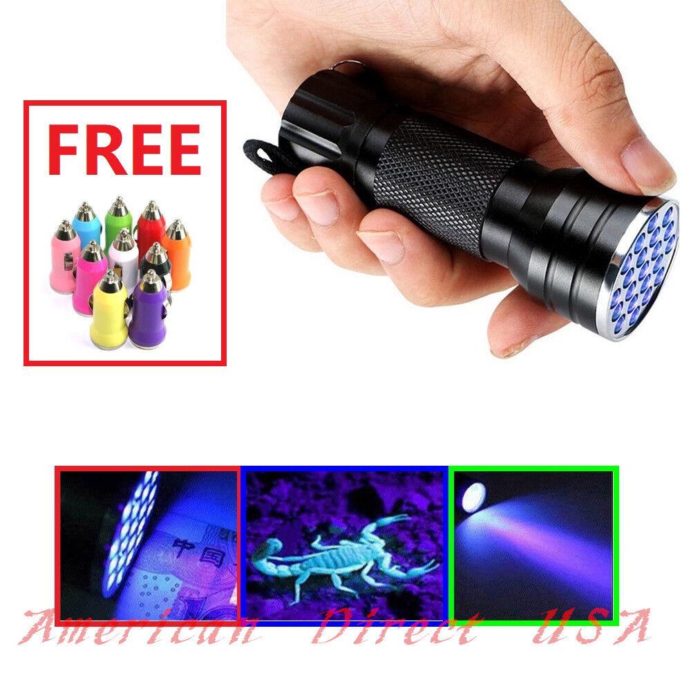 UV Ultra Violet 21 LED Flashlight Mini Blacklight Aluminum T