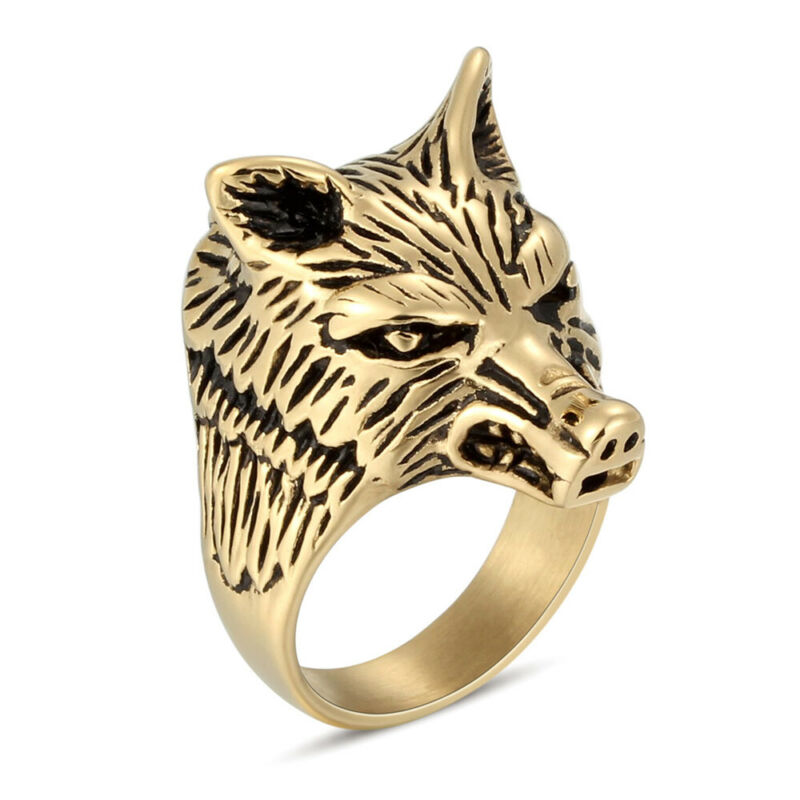 5Pcs/Lot Stainless Steel Men Gothic Punk Biker Plated Gold Rings Fashion Jewelry