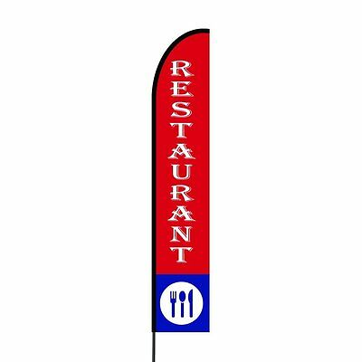Restaurant Feather Flags Banners With Pole Kit Stand Outdoor Advertising Signs