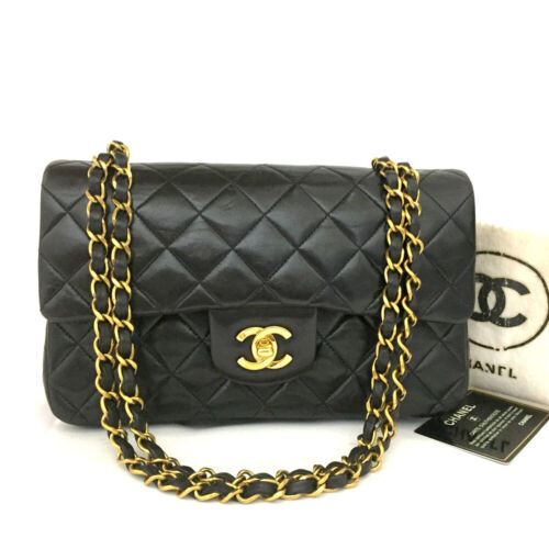 CHANEL Double Flap 23 Quilted CC Logo Lambskin w/Chain Shoulder Bag Black/10955
