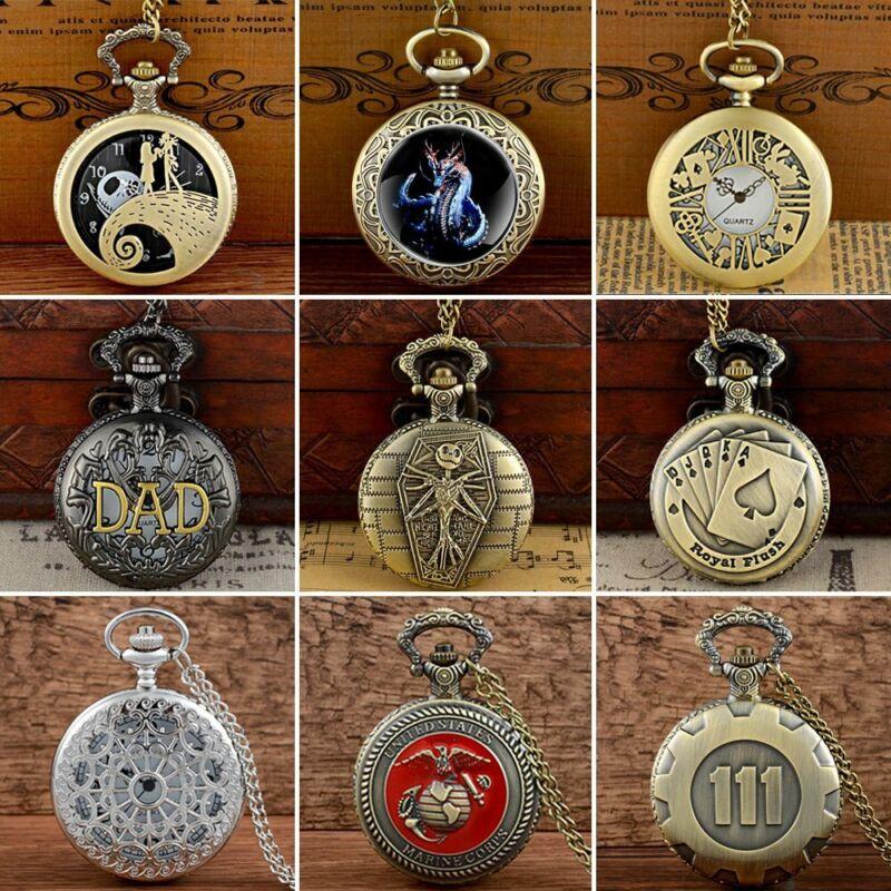 Retro Quartz Pocket Watch Antique Design Vintage Pendant Chain Necklace New Gift