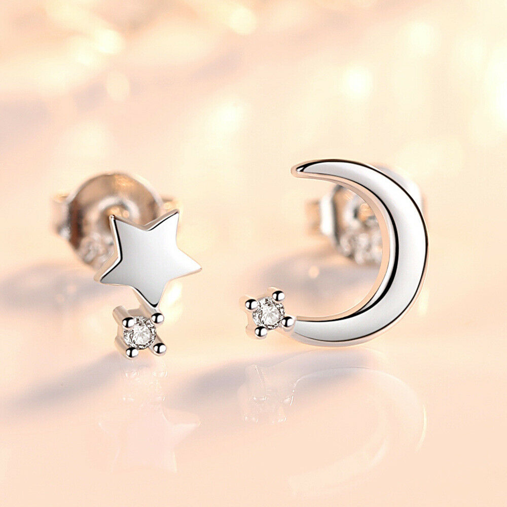 Jewellery - 925 Sterling Silver Moon Star Stone Stud Earrings Womens Girls Jewellery Gift