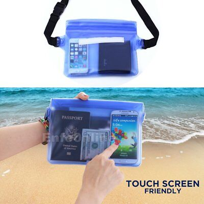 Waterproof Waist Pouch Bag Underwater Dry Case Cover for iPhone Cell Phone Blue Blue Cell Phone Case