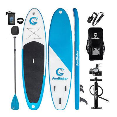 "FUNWATER11'*34""*6"" Inflatable PaddleBoard Sup W' Paddle,Bag,Leash,Pump,Phone Bag"