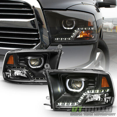 Black 2009-2018 Dodge Ram 1500 2500 3500 DRL LED Projector Halo Headlights Lamps
