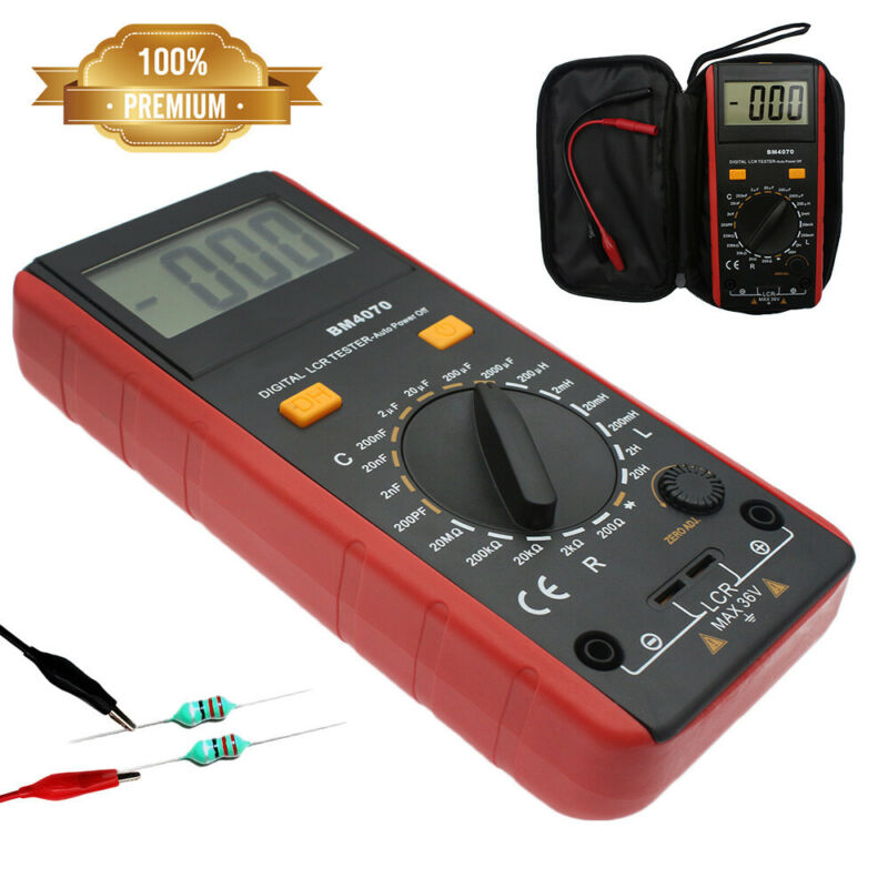 QUALITY LCR Meter Self-Discharge Resistance Capacitance Inductance Tester+Clips