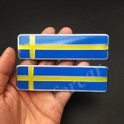 Used, 2pcs Metal Sweden Flag Car Emblem Badge Volvo Saab Motorcycle Fuel Tank Sticker for sale  China