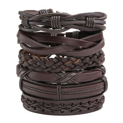 6pack Men Women Brown Braided Leather Bracelet for Cuff Wrap Wristband Set Gift Brown Leather Cuff Braided Bracelet