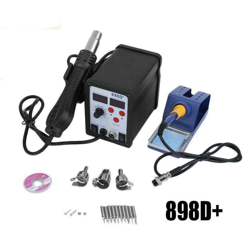 898D+ 2in1 SMD Rework Soldering Station Iron ESD Welder Desoldering Gun Hot 110V