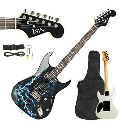 New ST Electric Guitar with Power Cord/Strap/Bag/Plectrums Black & White