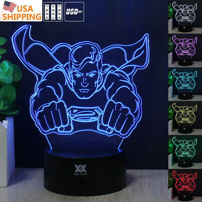 Superman Night Light - 3D Justice League Superman Acrylic LED 7 Colors Night Light Desk Table Lamp Gift