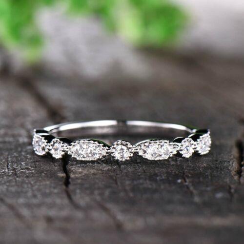 0.26 Ct Round Cut D/VVS1 Diamond Eternity Wedding Band Ring Real 14k White Gold