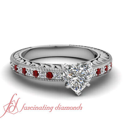 1 Ct Ruby And Heart Diamond Vintage Style Platinum Engagement Ring Pave Set GIA